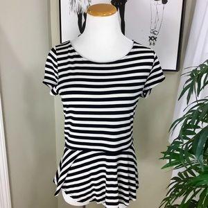 💰ELLE Peplum Black White Stripe Short Sleeve Top